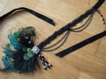 "Peacock Feathers + Crystal Flapper 1920's Art Deco Headband Headpiece - Gatsby Absinthe Fairy Downton Abbey ""Era"""